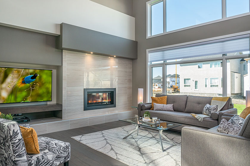 Great Room with Fireplace - Show Home - 56 West Plains Drive, Sage Creek | Avanti Custom Homes - Custom Homes - Winnipeg - Manitoba